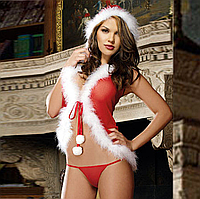 Сексуальное белье. Эротическое боди. Эротический костюм Снегурочка Санта Клаус ( размер 42  размер S), фото 1