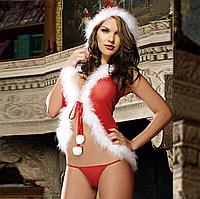 Сексуальное белье. Эротическое боди. Эротический костюм Снегурочка Санта Клаус ( размер 44  размер М), фото 1
