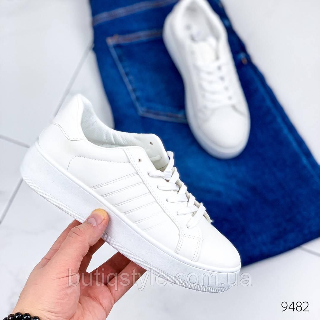 Женские кроссовки белые эко-кожа на шнуровке