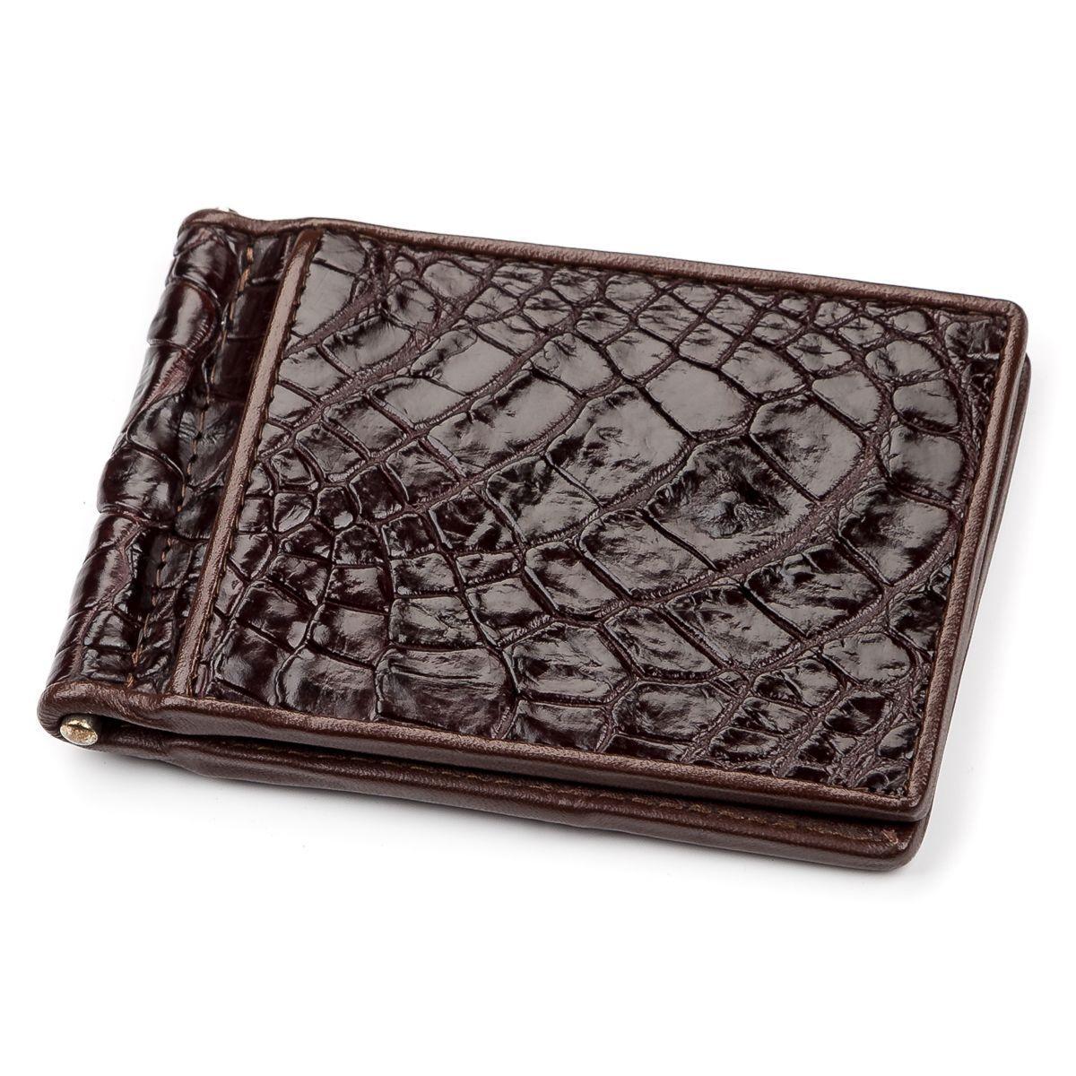 Зажим CROCODILE LEATHER 18052 из натуральной кожи крокодила Коричневый, Коричневый