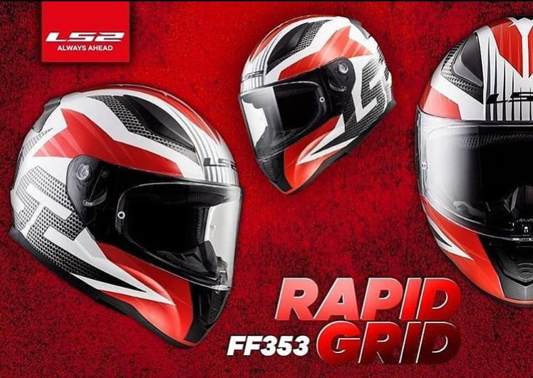 Мото LS2 Шлем Интеграл FF353 RAPID  GRID white red