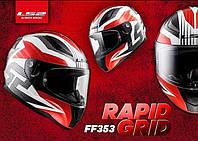 Мото LS2 Шлем Интеграл FF353 RAPID  GRID white red, фото 1