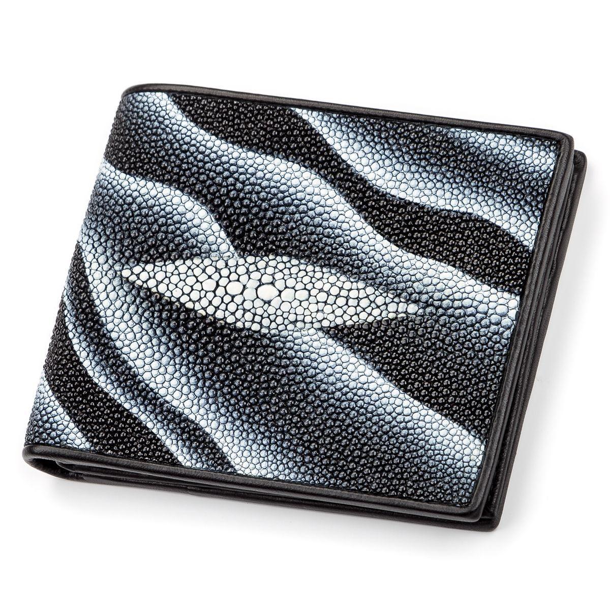 Портмоне мужское STINGRAY LEATHER 18061 из натуральной кожи морского ската Черное, Черный