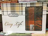 Плед покрывало AKSU Оранжево-серый 195*220. 60%-акрил 40%-хлопок