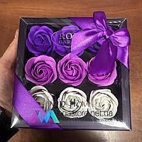 Подарочный набор розы из мыла Soap Flower 9 шт подарок любимой девушке маме на 8 марта сиреневые