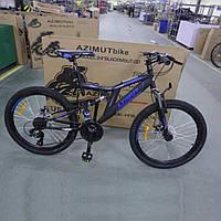"""Велосипед горный (MTB) Azimut Blackmount D 26 дюймов, рама 18"""" black-blue, черно-синий"""