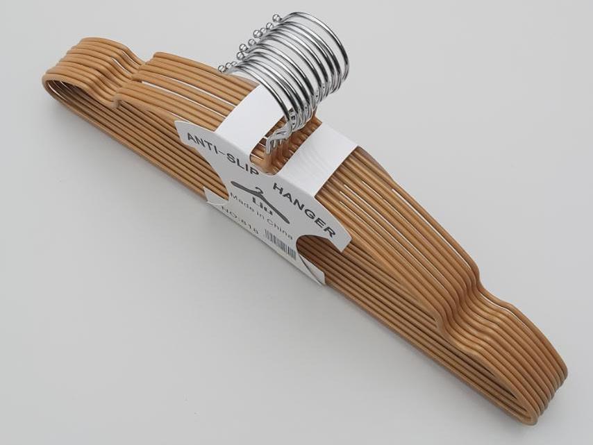 Плечики  тремпеля металлический в силиконовом покрытии бронзового цвета, длина 40 см, в упаковке 10 штук
