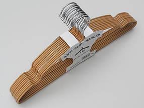 Плечики  тремпеля металлический в силиконовом покрытии бронзового цвета, длина 40 см, в упаковке 10 штук, фото 3