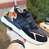 Мужские кроссовки Adidas Nite Jogger чёрные с оранжевым. Живое фото. Реплика