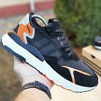 Мужские кроссовки Adidas Nite Jogger чёрные с оранжевым. Живое фото. Реплика, фото 1