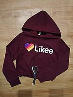 """Подростковый кроп-топ для девочек """"Likee""""8-12лет, бордового цвета"""