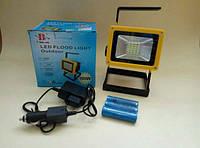 Фонарь прожектор 204-20LED+4LED (синий, красный), питание 3х18650, зарядка 220 В/12 В, 3 режима