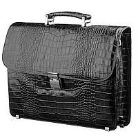 Портфель мужской KARYA 17273 кожаный Черный под крокодила, Черный