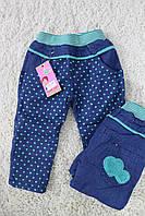 Утепленные джинсовые штаны на флисе для девочек 1- год