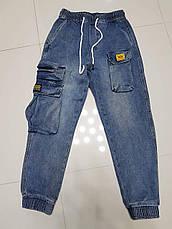 Джоггеры, джинсы на резинке коттоновые  унисекс, накладные карманы карго, есть большие размеры NN, фото 2