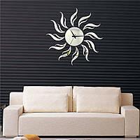 Зеркальные накладные декоративные часы на стену Sun, 60х60 см