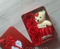 Розы из мыла + мишка , подарок на 14 февраля