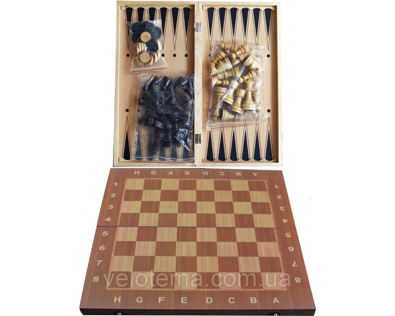 Набор 3в1 Нарды,Шахматы,Шашки (24х24см) W7721
