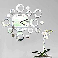 Зеркальные накладные декоративные часы на стену Circles, 50х60 см