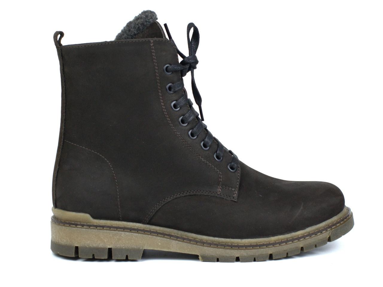 Демісезонні черевики чоловічі берци замшеві на флісі коричневі Rosso Avangard Doks Brown Diamond