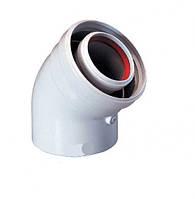 """Колено (""""мама - папа"""") 45° градусов коаксиального дымохода, для турбированных котлов"""
