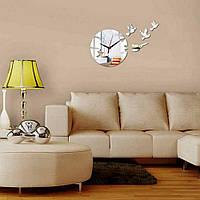 Зеркальные накладные декоративные часы на стену Birds, 50х60 см