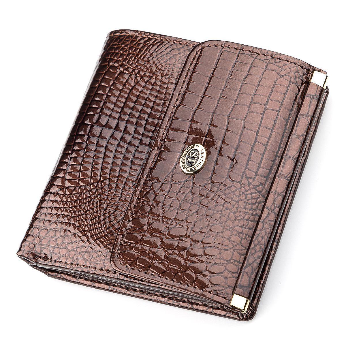 Кошелек женский ST Leather 18354 (S1101A) лакированная кожа Коричневый