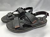 Мужские чёрные кожаные сандалии на липучках Detta, фото 3