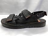Мужские чёрные кожаные сандалии на липучках Detta, фото 5