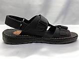 Мужские чёрные кожаные сандалии на липучках Detta, фото 2