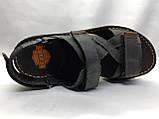 Мужские чёрные кожаные сандалии на липучках Detta, фото 4