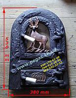 Дверка чугунная с жаростойким стеклом для барбекю, мангал, печи, грубу, фото 1