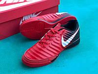 Футзалки Nike Legend X VII/ бампы найк темпо/футбольная обувь черно-красные