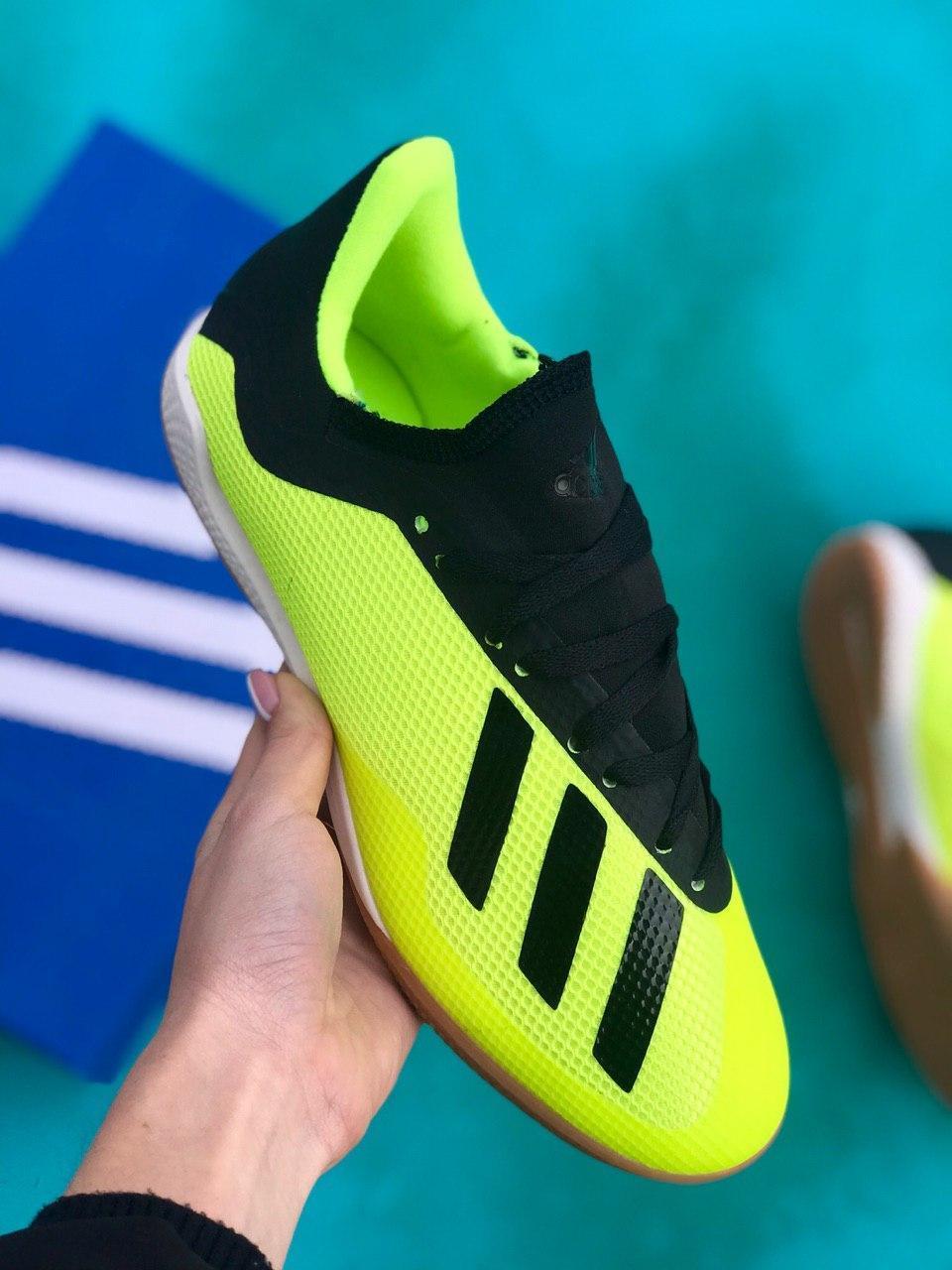 Футзалки Adidas X 19.3 IN/залки адидас икс/футбольная обувь черно-салатовые