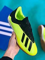Футзалки Adidas X 19.3 IN/залки адидас икс/футбольная обувь черно-салатовые, фото 1