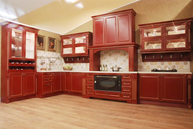 классическая бордовая кухня фото