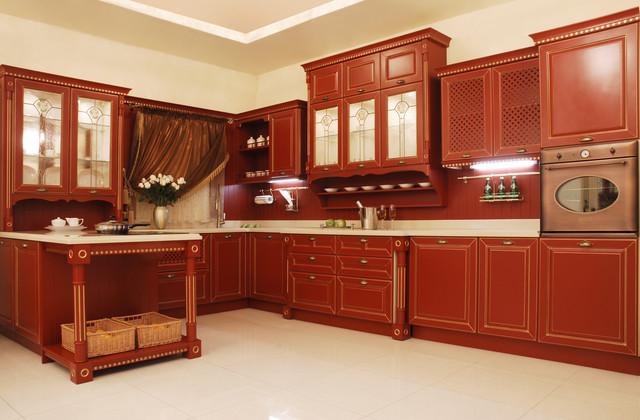 кухня в бордовых цветах