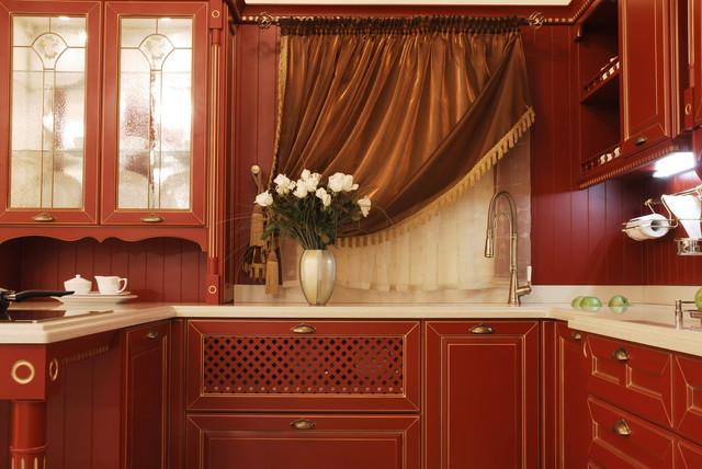 классическая красная кухня фото
