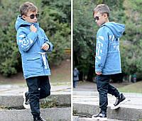 Джинсовая парка с меховой подкладкой на мальчика, фото 1