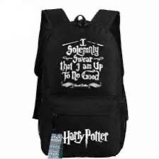 Рюкзак Гарри Поттер Хогвартс с надписью чёрный