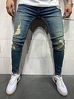 Мужские зауженые джинсы с налипками