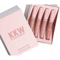 Набор матовых жидких помад 4-в-1 Lip Colors Kylie KKW