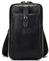 Компактная сумки из натуральной кожи Vintage 14811 Черная, Черный