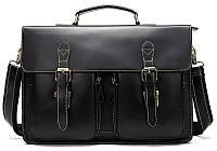 Портфель мужской из кожи на плечо Vintage 14878 Черный, Черный