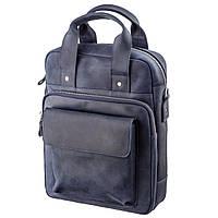 Стильная сумка под А4 вертикального формата в матовой коже 11170 SHVIGEL, Синяя, Синий