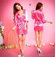 """Розовый насыщенный халатик """"Эмбер""""13684 с кружевом на рукавах сексуальный эротический интимный кружевной Ре5"""