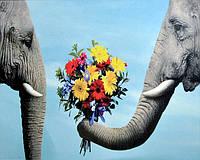 """Алмазная вышивка стразами на подрамнике """"Пара милых слонов"""" 30*40 см."""