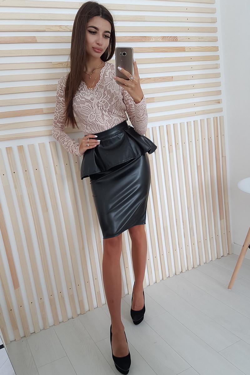 Кожаная юбка по колено с высокой посадкой