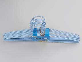 Плечики  металлический в полиэтиленовом покрытии нежно-голубого цвета, длина 39,5 см, в упаковке 10 штук, фото 2