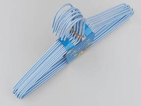Плечики  металлический в полиэтиленовом покрытии нежно-голубого цвета, длина 39,5 см, в упаковке 10 штук, фото 3
